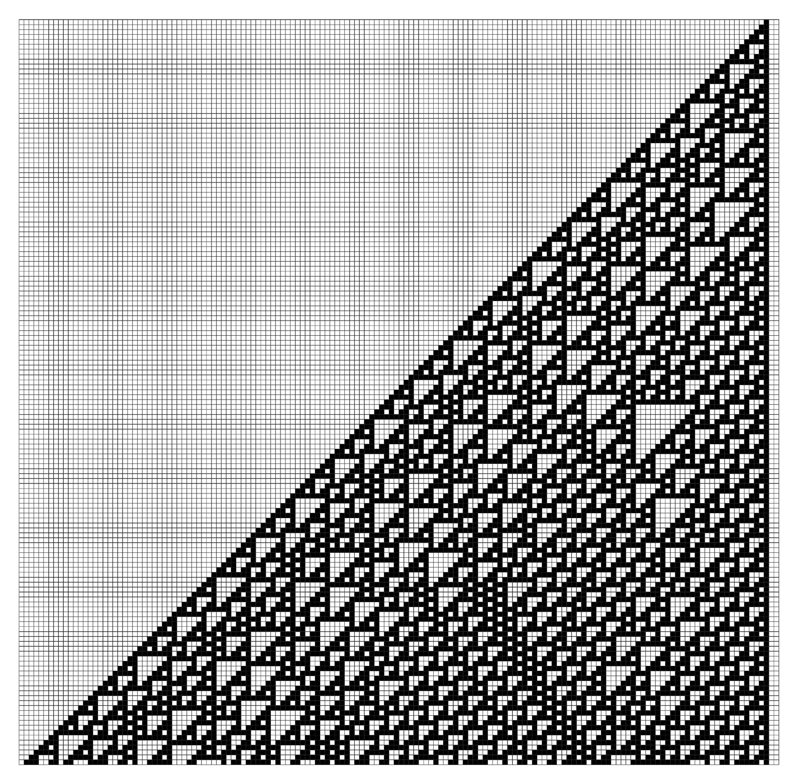 A cellular automaton whose behavior seems neither highly regular nor completely random