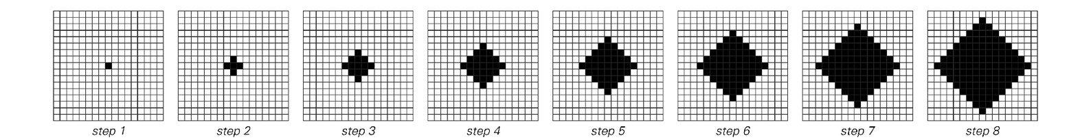 Successive steps in evolution of two-dimensional cellular automaton
