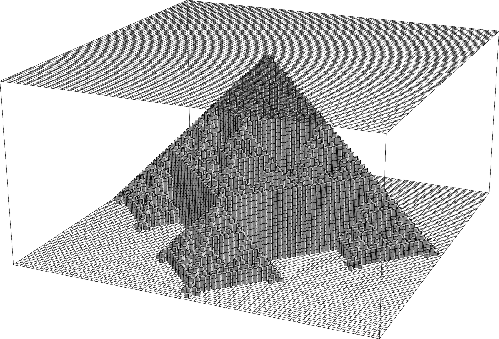 A three-dimensional object formed by stacking the two-dimensional patterns from the previous page