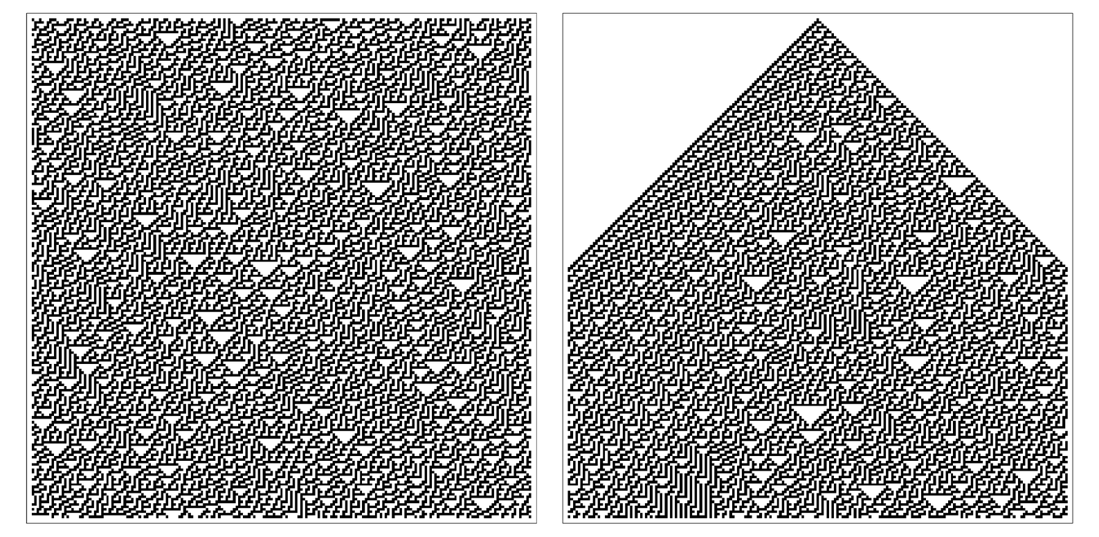 Comparison of patterns produced by rule 30
