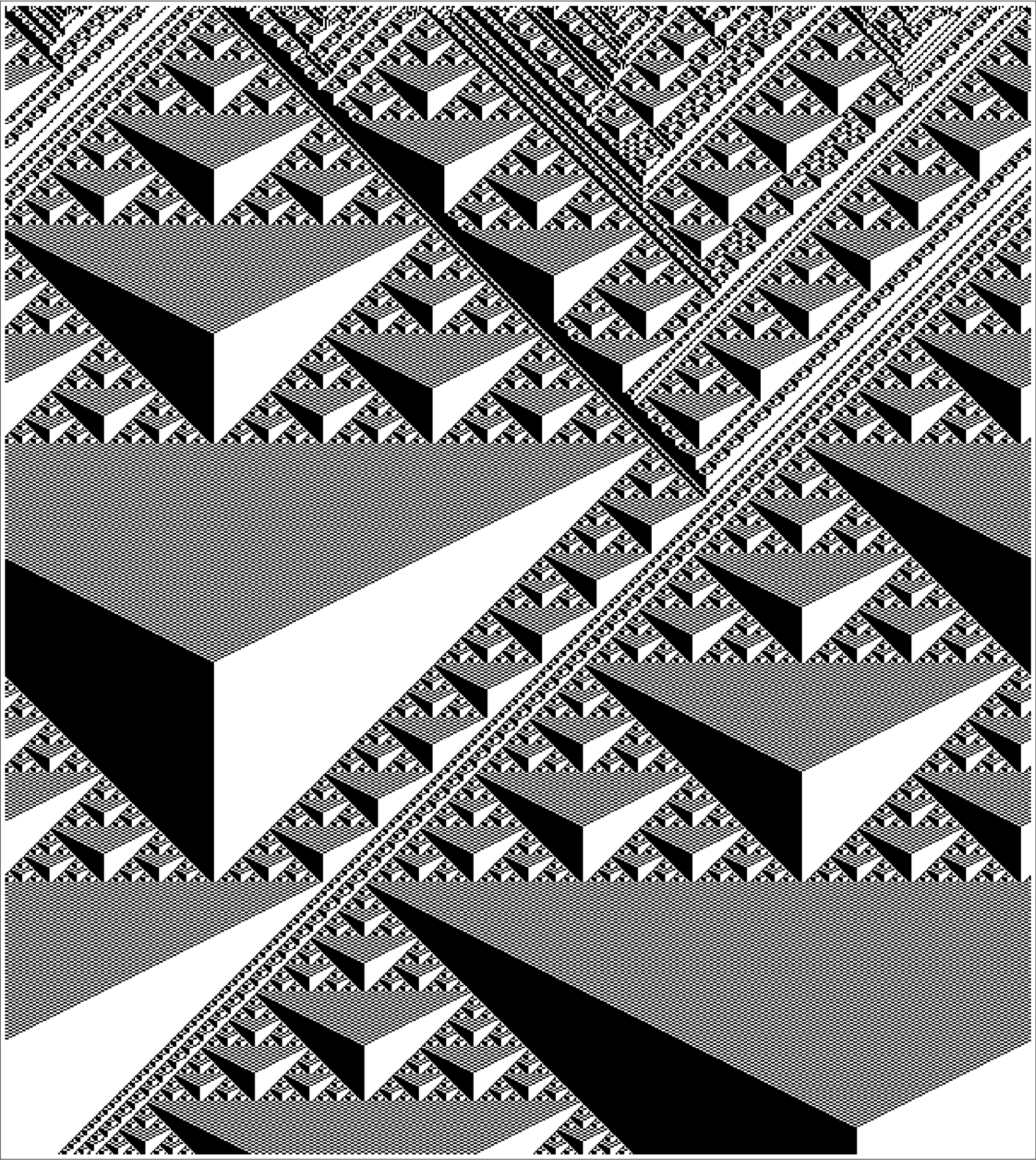 Cellular automaton producing a nested pattern from random initial conditions