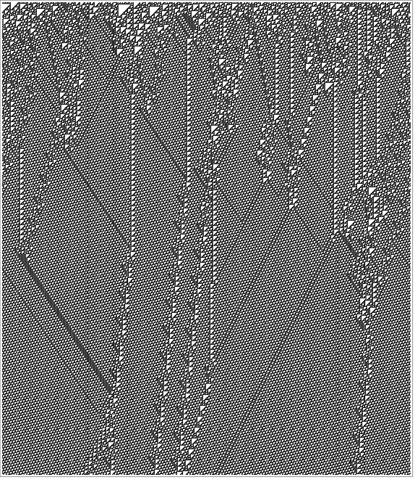 Typical example of the behavior of the rule 110 cellular automaton