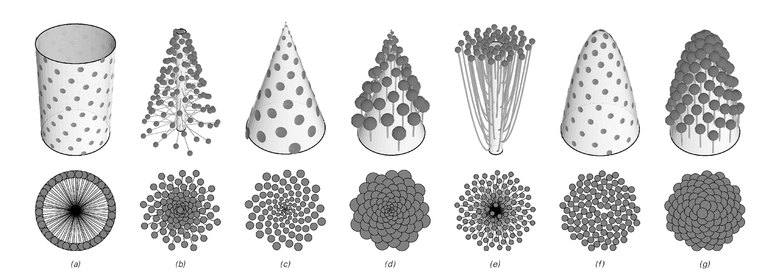 Examples of structures formed in various geometries by successively adding elements at a golden ration angle