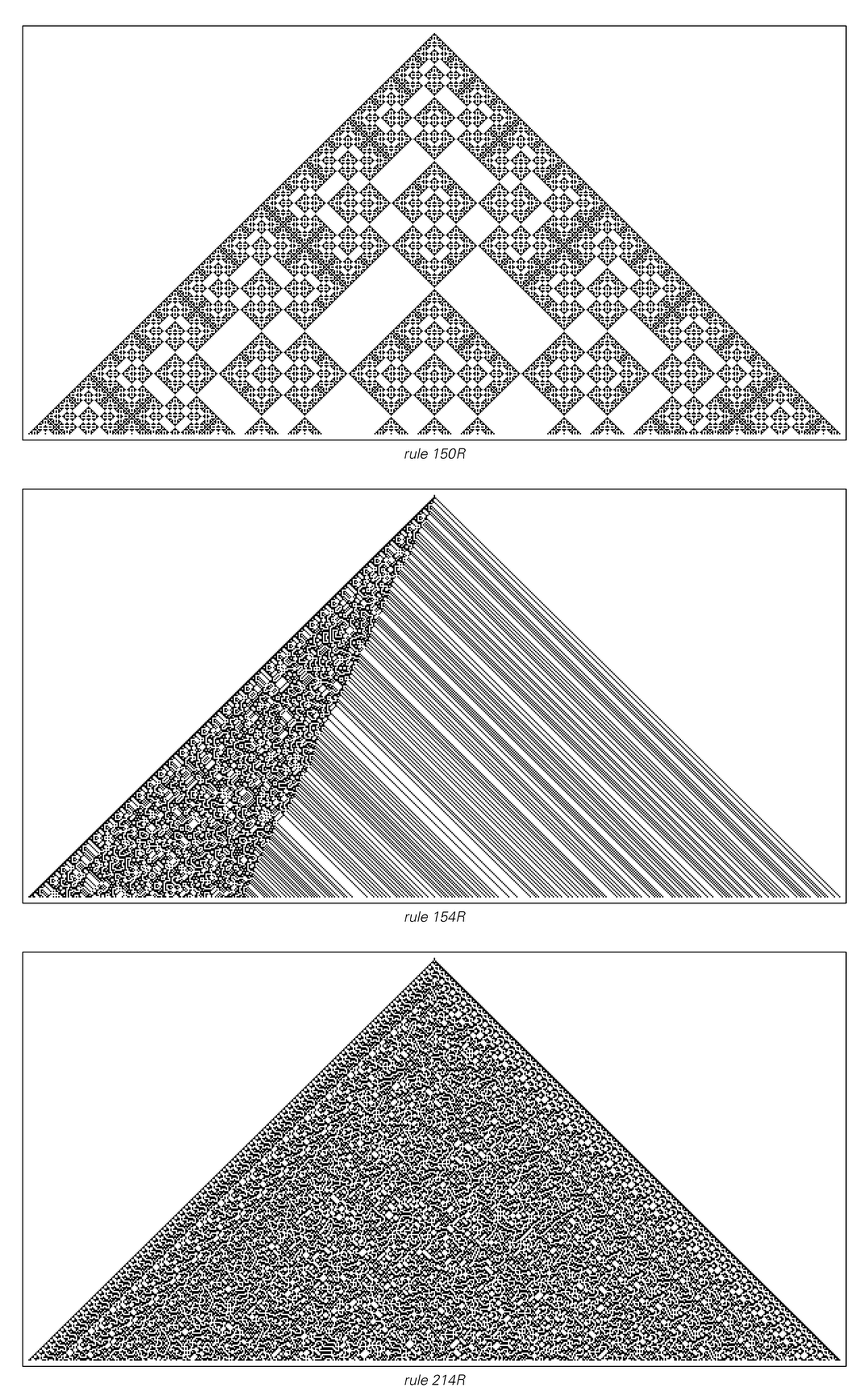 Evolution of three reversible cellular automata for 300 steps