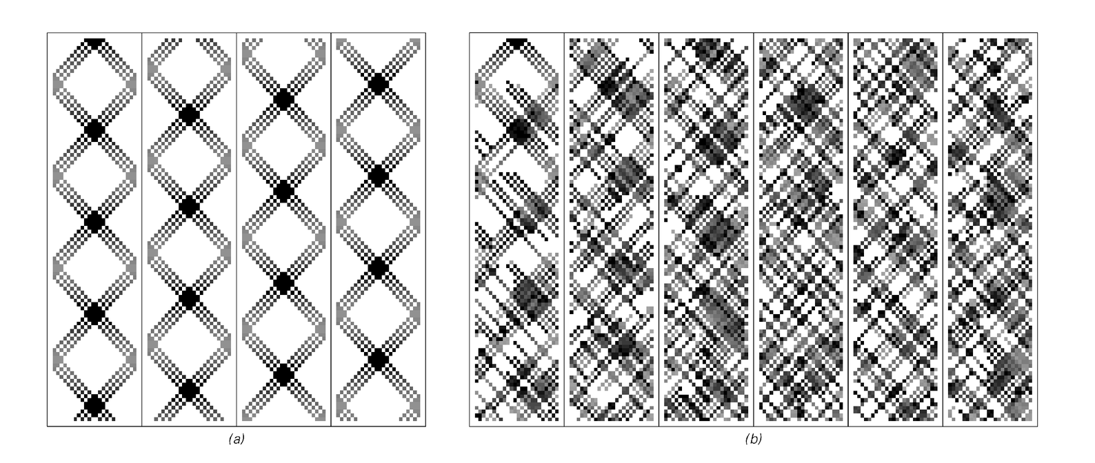 Time histories of cellular automata from facing page