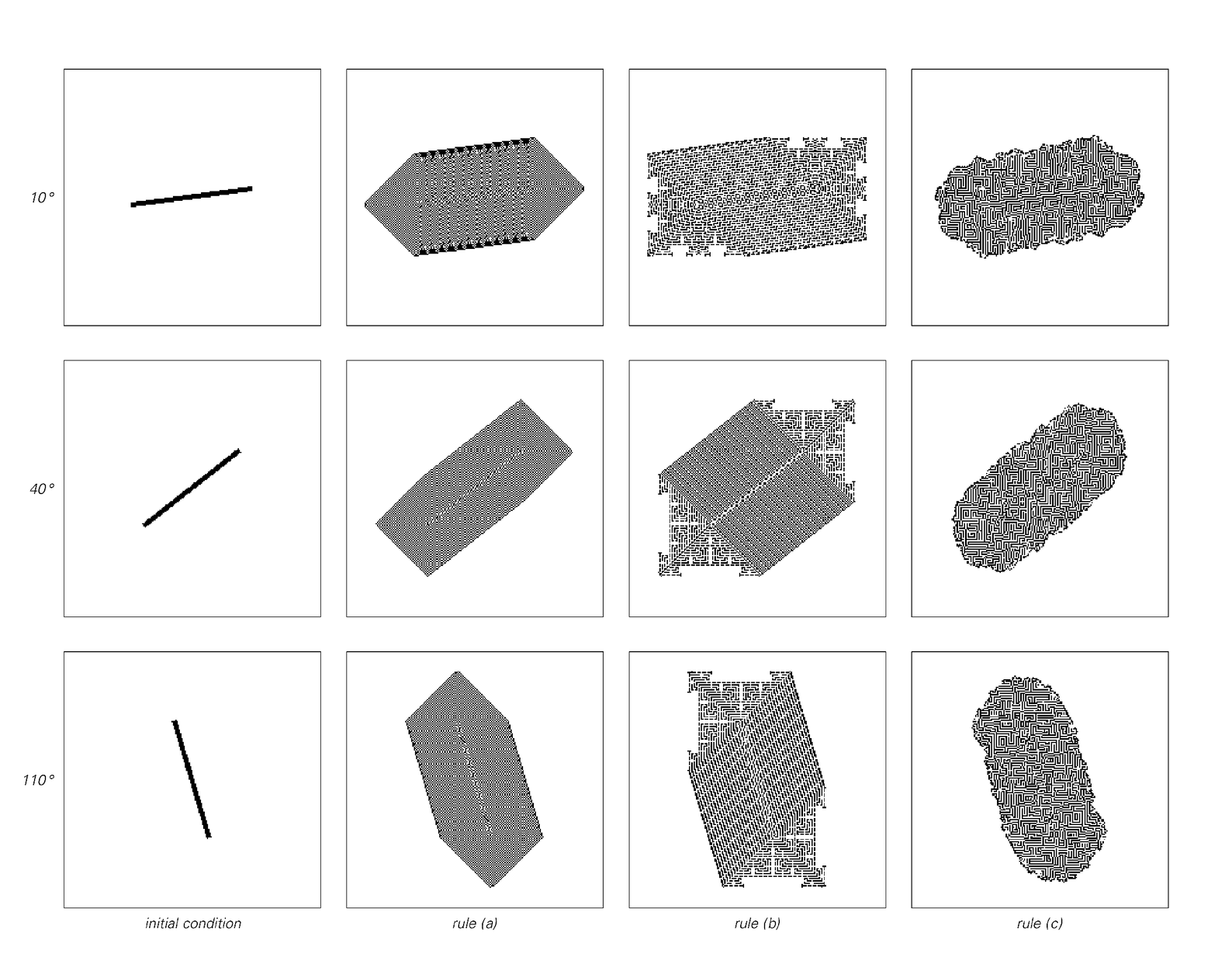Examples of orientation dependence in behavior of two-dimensional cellular automata