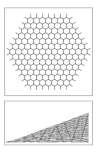 Hexagonal array corresponding to flat two-dimensional space
