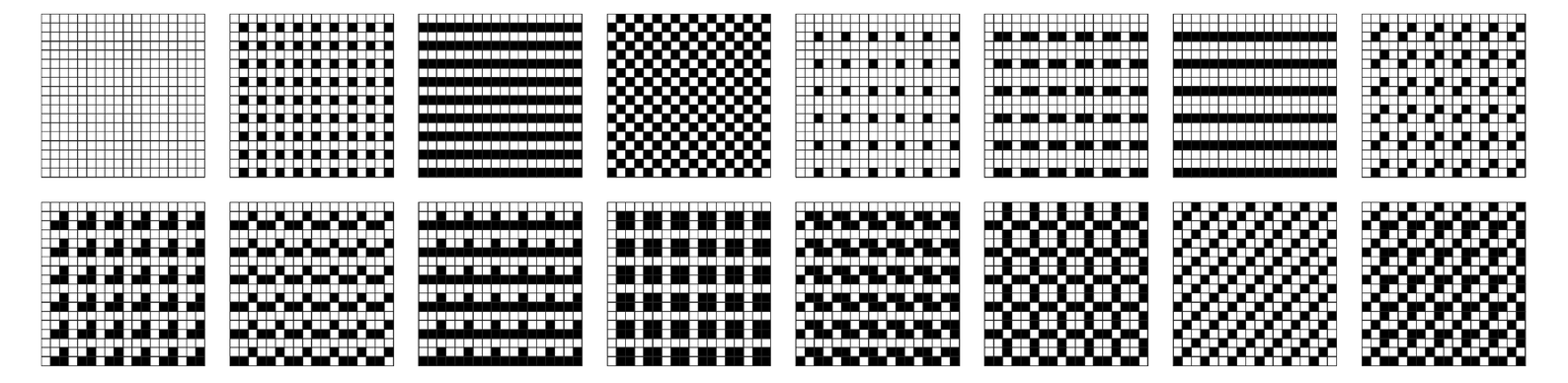 The distinct repetitive patterns that can be formed from arrays of 2×2 and 3×3 blocks