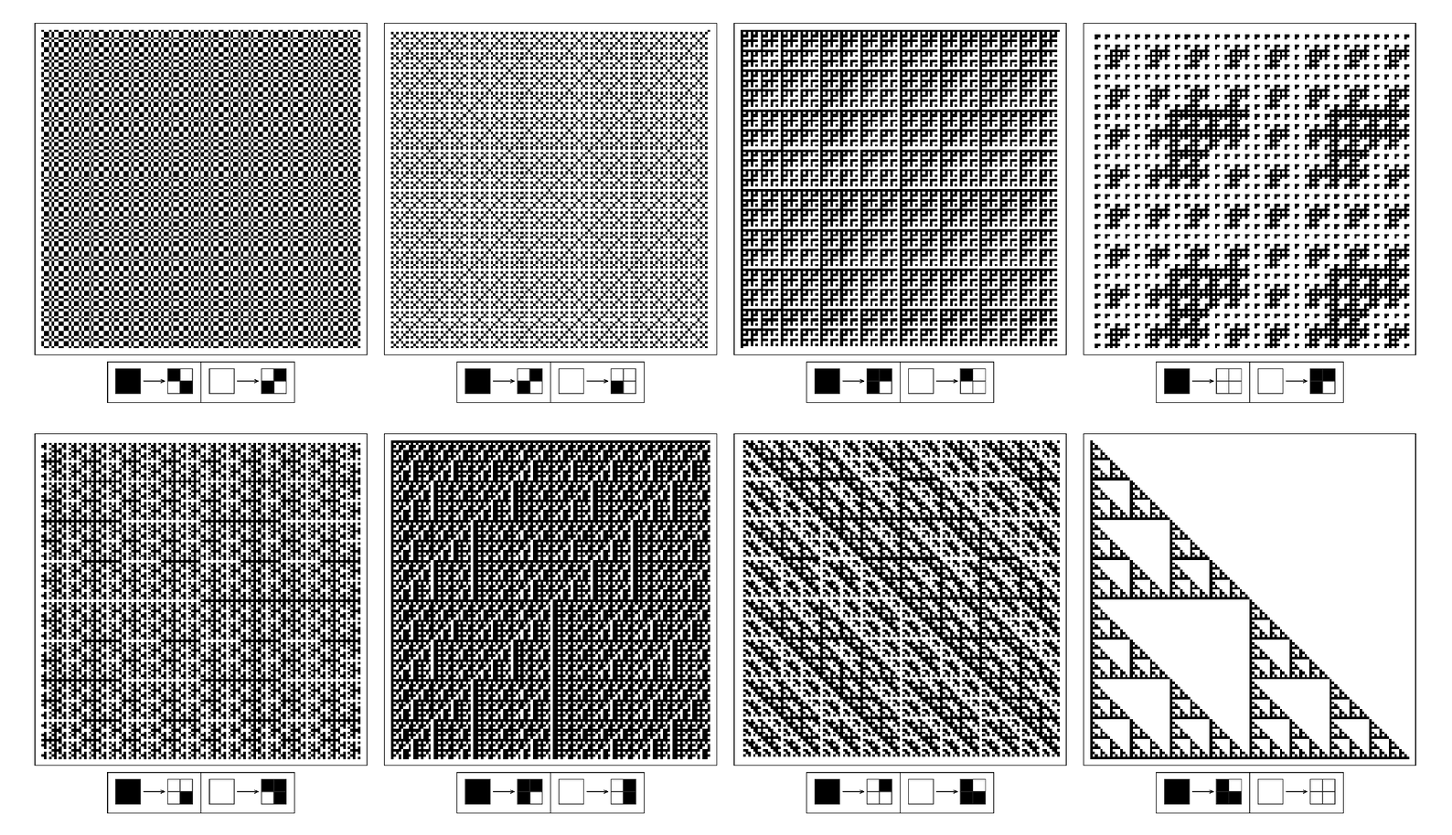 Nsted patterns created by following two-dimensional substitution rules