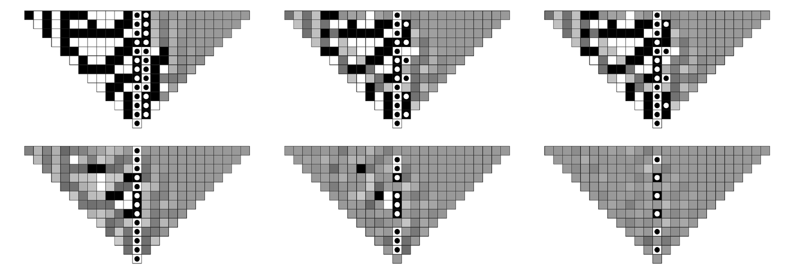 Patterns generated by rule 30