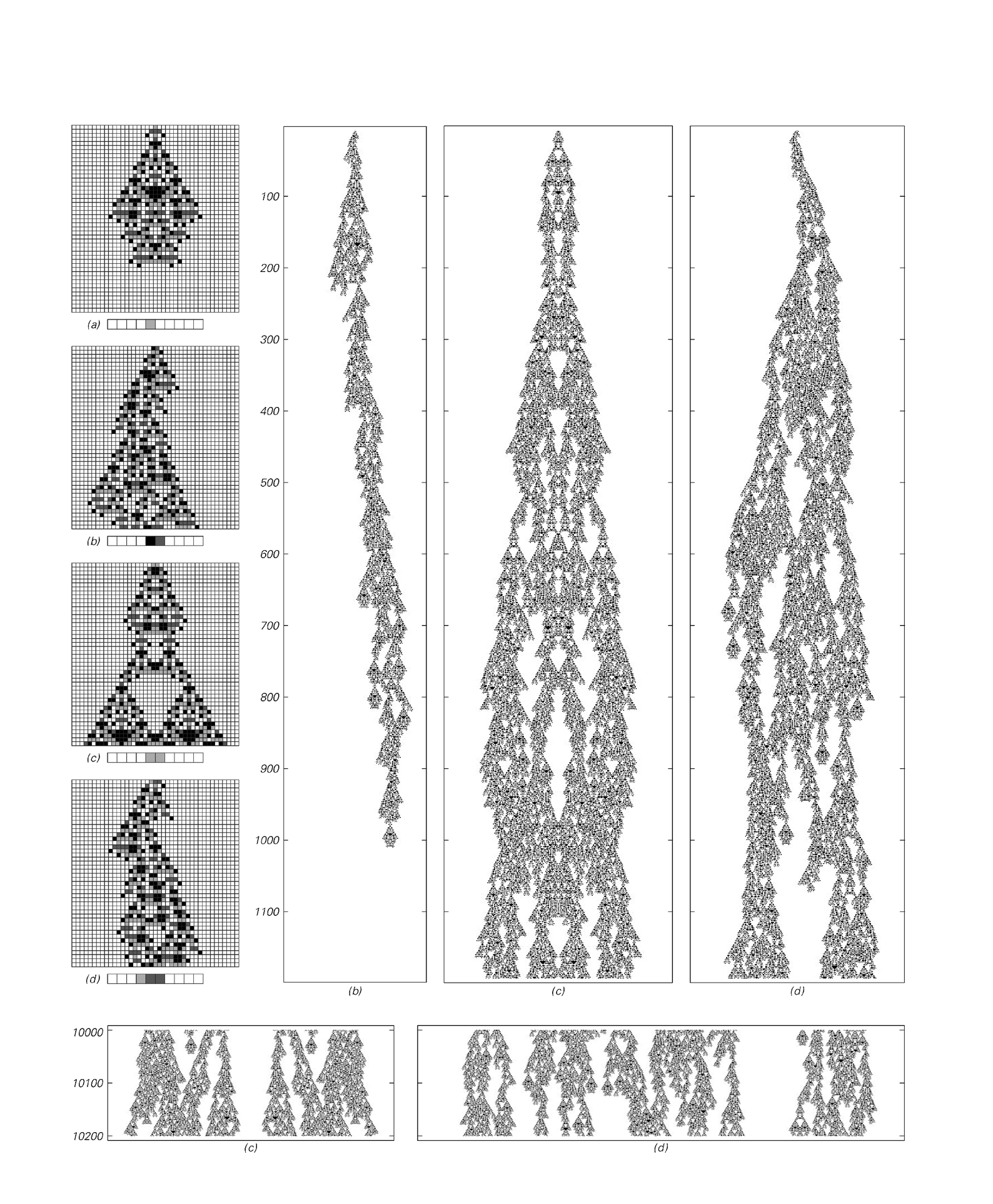 Cellular automaton evolution illustrating the phenomenon of undecidability
