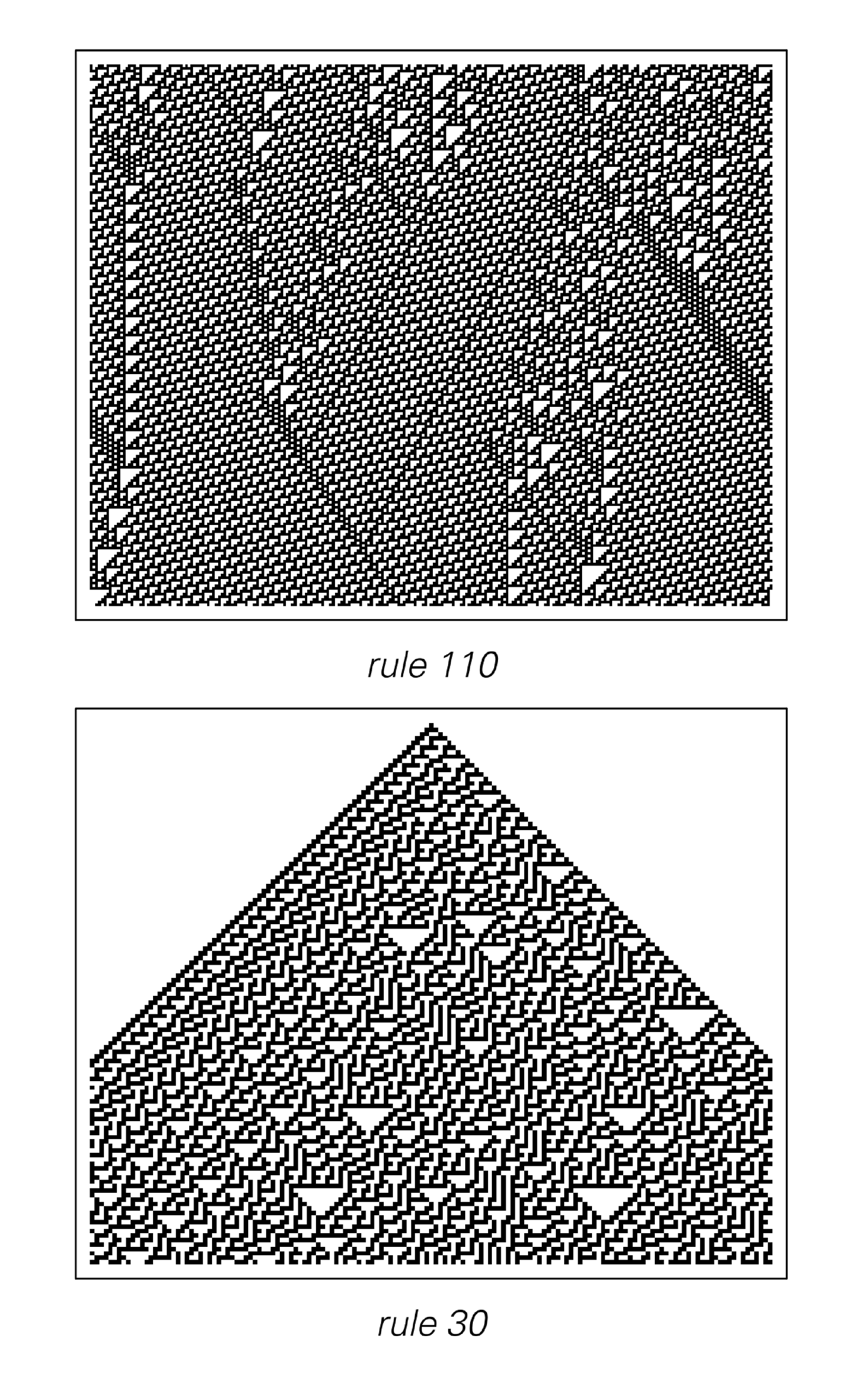 Cellular automata whose behavior does and does not give the impression of being purposeful