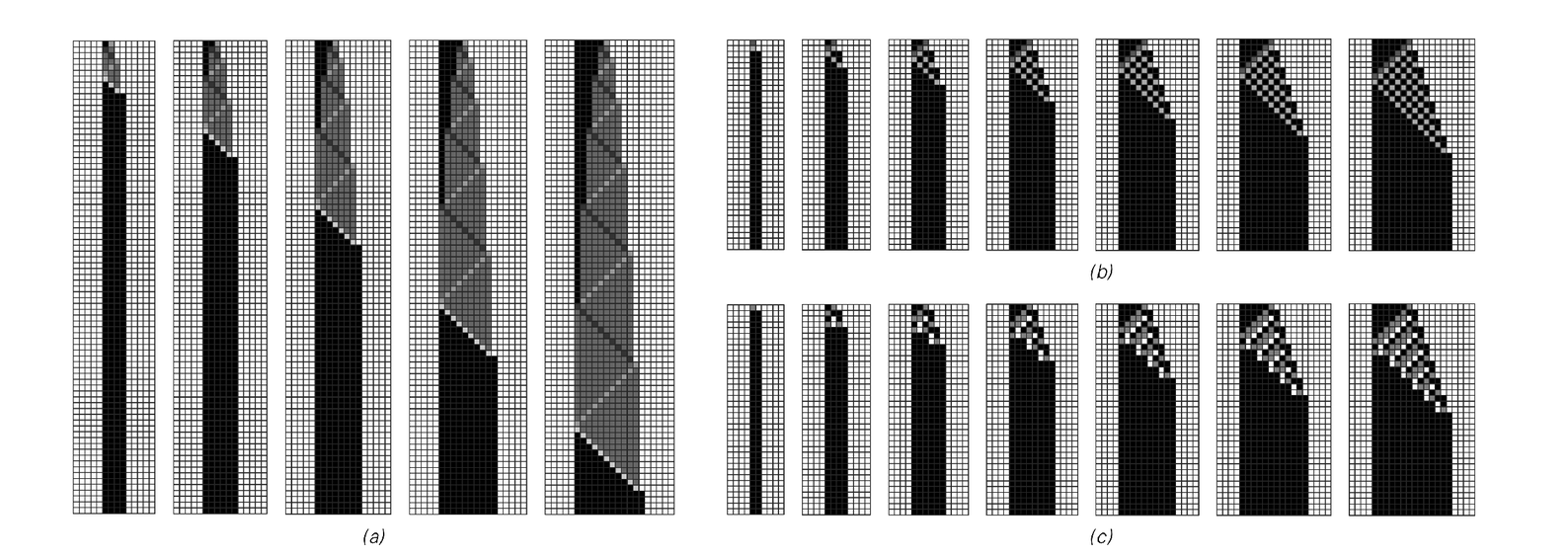 Examples of cellular automata that can be viewed as achieving the purpose of doubling the width of the pattern given in their input