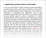 Applications [of the science in the book]