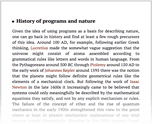 History of programs and nature