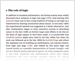 The role of logic