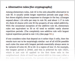 Alternative rules [for cryptography]