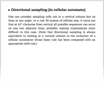 Directional sampling [in cellular automata]