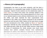 History [of cryptography]
