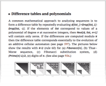 Difference tables and polynomials