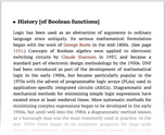 History [of Boolean functions]