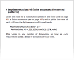 Implementation [of finite automata for nested patterns]