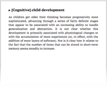 [Cognitive] child development