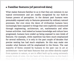 Familiar features [of perceived data]