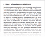 History [of randomness definitions]