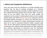 History [of complexity definitions]