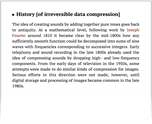 History [of irreversible data compression]