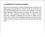 Feedback [in visual processing]