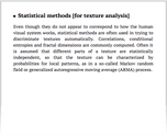 Statistical methods [for texture analysis]