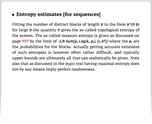Entropy estimates [for sequences]