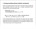 Turing machines [from cellular automata]