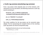Cyclic tag systems [emulating tag systems]