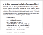 Register machines [emulating Turing machines]