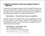 Register machines with many registers [from 2 registers]