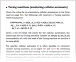 Turing machines [emulating cellular automata]