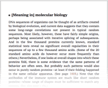 [Meaning in] molecular biology