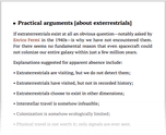 Practical arguments [about exterrestrials]