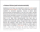 Science fiction [and extraterrestrials]
