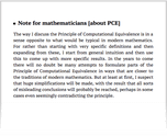 Note for mathematicians [about PCE]
