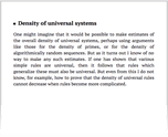 Density of universal systems