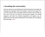 Encodings [for universality]