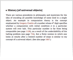 History [of universal objects]