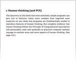 Human thinking [and PCE]