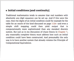 Initial conditions [and continuity]