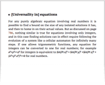 [Universality in] equations
