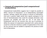 Amount of computation [and computational irreducibility]